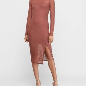 Express Mock Neck Ribbed Midi Sheath Dress
